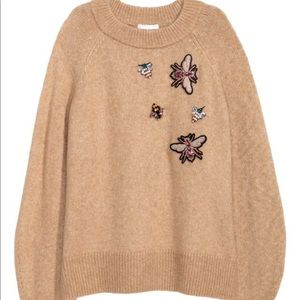 H&M Insect Appliqué Mock Neck Sweater